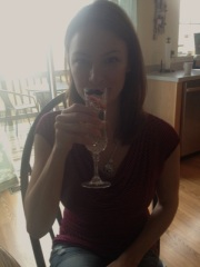 Julie Maida and her custom Rachel's Table champagne glass. You're welcome for my amazing photography.