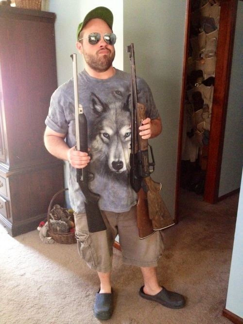 A wolf t-shirt to go with his BB guns.