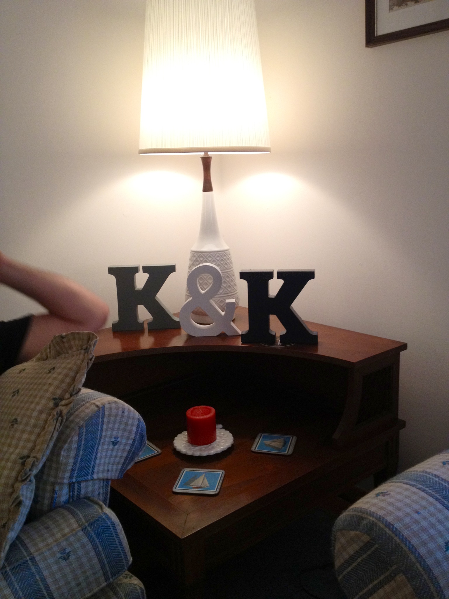 ...bought candles and a of couple K's, painting one to match the new wall...