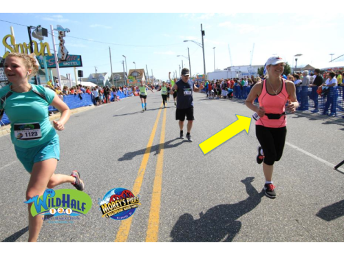 The official finish line photo. I think I was disqualified for the rebellious-yet-jaunty placement of my race number.