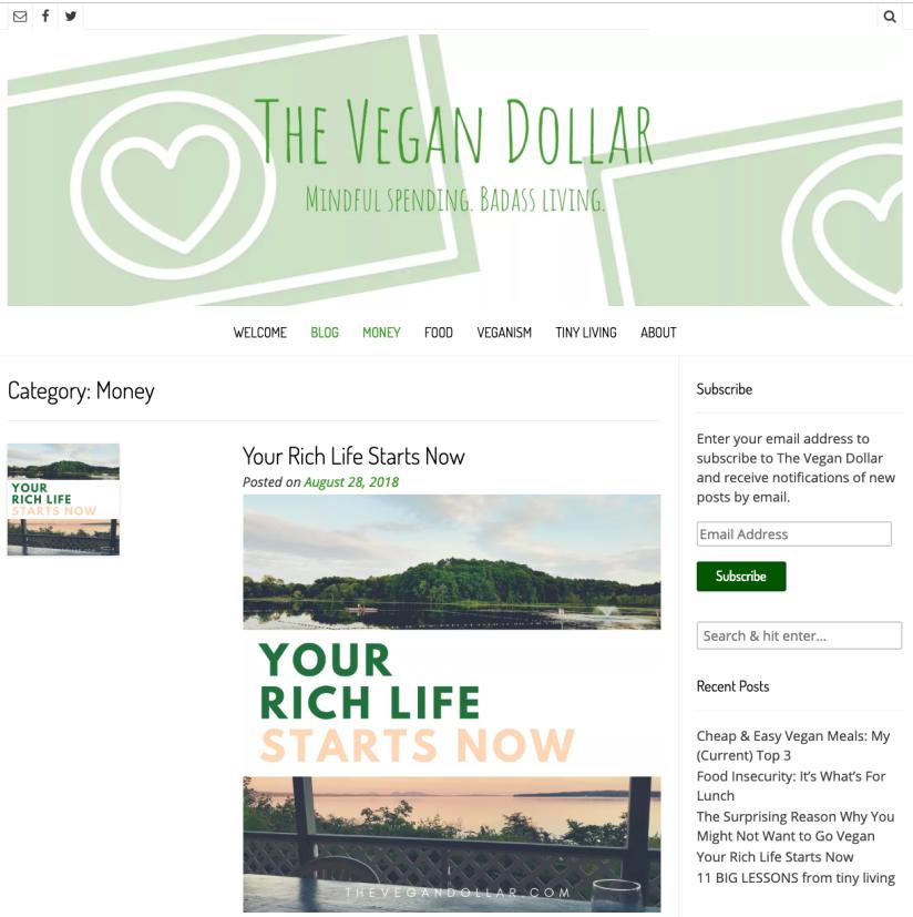 The Vegan Dollar website screenshot