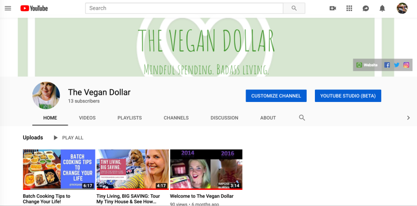 The Vegan Dollar YouTube Channel screenshot