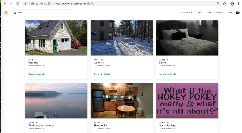 AirBnBs for April screenshot